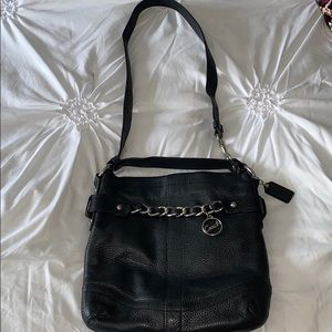 Coach bag black with silver chain
